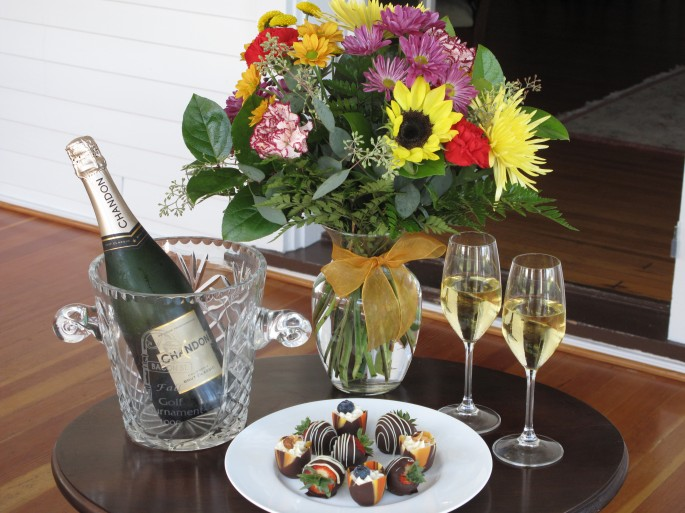 Champagne, Flowers, Treats for Special Occasion