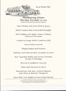 Thanksgiving Menu 2012