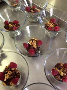 Brownies, Nuts and Raspberries for Chocolate Ganache