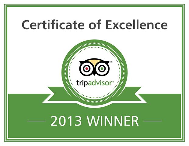2013 TripAdvisor Certificate of Excellence