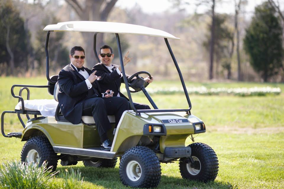 wedding Warner Hall golf cart