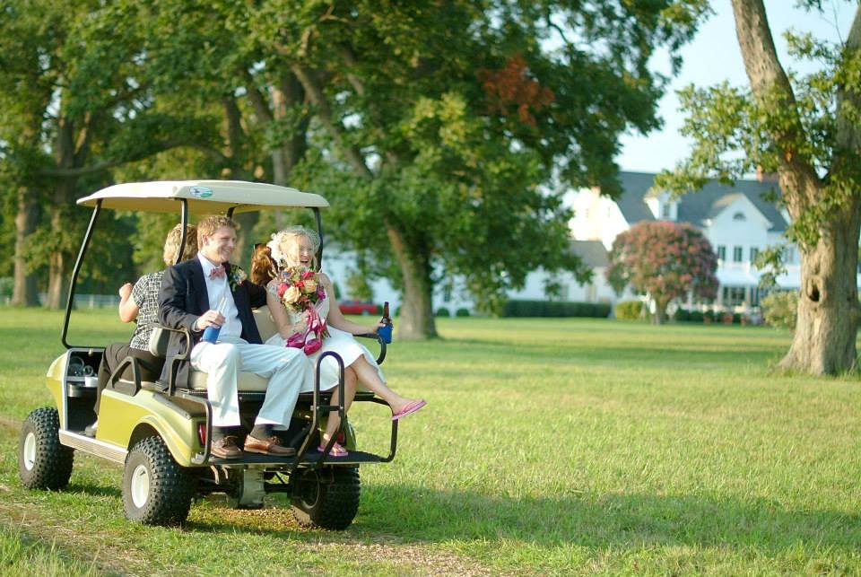 wedding Warner Hall golf cart2